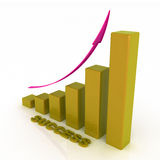 Grafico commerciale con la freccia aumentante Fotografia Stock Libera da Diritti