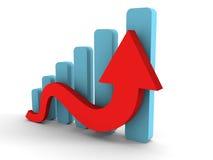 Grafico commerciale crescente con la freccia in aumento Fotografia Stock Libera da Diritti