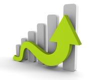 Grafico commerciale crescente con la freccia in aumento Fotografie Stock Libere da Diritti