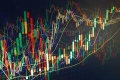 Grafico commerciale di finanza. Guadagni e coltivi i soldi Fotografia Stock