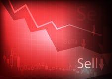 Grafico commerciale diminuente su fondo rosso Fotografie Stock
