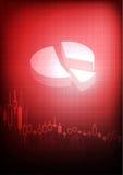 Grafico commerciale diminuente su fondo rosso Fotografia Stock