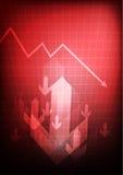 Grafico commerciale diminuente su fondo rosso illustrazione di stock