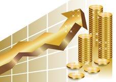 Grafico commerciale dorato con la pila di monete Fotografie Stock Libere da Diritti