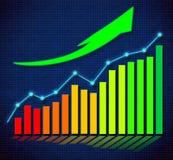 Grafico commerciale e frecce dirette ascendenti Immagini Stock