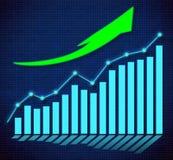 Grafico commerciale e frecce dirette ascendenti Fotografia Stock Libera da Diritti