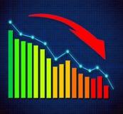 Grafico commerciale e frecce dirette ascendenti Fotografie Stock