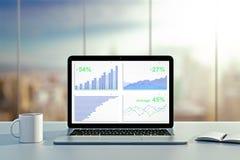Grafico commerciale sullo schermo del computer portatile con la tazza di caffè ed il diario sopra Fotografia Stock Libera da Diritti