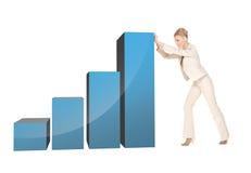 Grafico commovente 3d della donna di affari grande Fotografie Stock Libere da Diritti