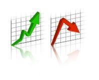 Grafico con su e giù sviluppo Fotografia Stock