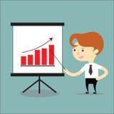 Grafico crescente attuale dell'uomo d'affari dell'affare Immagini Stock