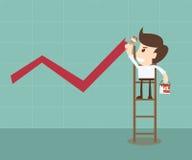 Grafico crescente della pittura dell'uomo d'affari Immagini Stock