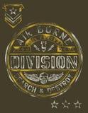 Grafico d'annata della maglietta dello stampino militare Fotografie Stock