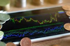 Grafico dei forex dell'esposizione di Smartphone con la pila della moneta fotografie stock libere da diritti