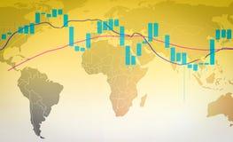 Grafico dei forex o del mercato azionario e grafico commerciali del candeliere sulla mappa di mondo illustrazione vettoriale