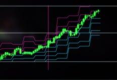 Grafico del candeliere delle azione o della crescita di prezzi di valuta Investimenti nelle società e in cryptocurrencies illustrazione di stock