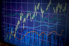 Grafico del commercio di investimento del mercato azionario Immagini Stock Libere da Diritti