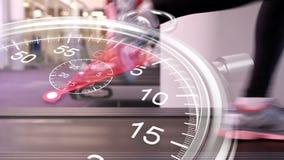 Grafico del cronometro sopra il corridore sulla pedana mobile archivi video