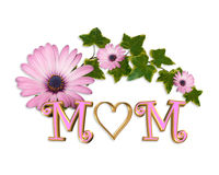 Grafico del cuore 3D della scheda di giorno di madri Fotografia Stock