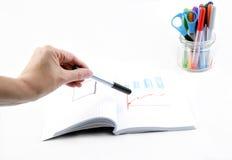Grafico del disegno della mano su fondo bianco Immagini Stock
