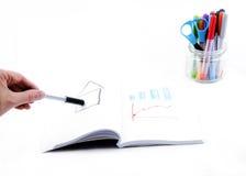 Grafico del disegno della mano su fondo bianco Fotografie Stock