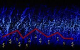 Grafico del dollaro su un fondo blu illustrazione di stock