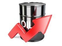 Grafico del grafico del barile da olio con la freccia rossa su Fotografia Stock
