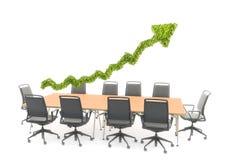 Grafico del grafico della freccia sopra una tavola di conferenza Fotografia Stock