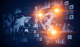 Grafico del mercato azionario su fondo blu Media misti Fotografia Stock