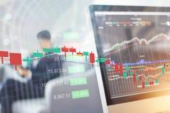 Grafico del mercato azionario sullo schermo di computer Fotografie Stock
