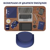 Grafico del posto di lavoro, fotografo Vista da sopra royalty illustrazione gratis