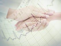 Grafico del respiro del cuore con assistenza medica Fotografie Stock