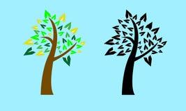 Grafico dell'albero con l'albero di ombra nero Immagini Stock