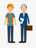 grafico dell'icona del casco della costruzione del lavoratore degli uomini Fotografia Stock