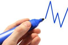 grafico dell'illustrazione della mano con la penna blu fotografia stock libera da diritti