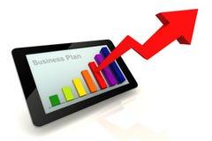 Grafico della compressa variopinto con il business plan di scopo Fotografia Stock