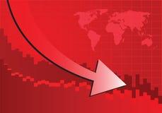 Grafico della freccia che va giù Fotografia Stock