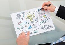 Grafico della gestione del disegno dell'uomo d'affari allo scrittorio Fotografia Stock