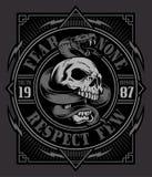 Grafico della maglietta del cranio del serpente Fotografie Stock Libere da Diritti