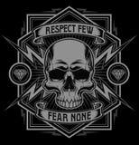 Grafico della maglietta del fulmine del cranio di rispetto Fotografie Stock Libere da Diritti