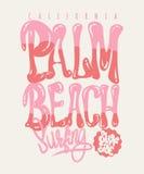 Grafico della maglietta di California del Palm Beach Immagini Stock
