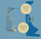 Grafico della mappa Info di vettore del Delaware 3D Fotografie Stock