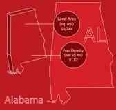 Grafico della mappa Info di vettore dell'Alabama 3D Immagini Stock