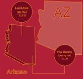 Grafico della mappa Info di vettore dell'Arizona 3D Immagini Stock