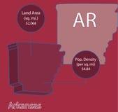 Grafico della mappa Info di vettore dell'Arkansas 3D Fotografie Stock