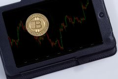 Grafico della moneta di Bitcoin Fotografie Stock
