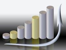 Grafico delle monete e della freccia Fotografia Stock