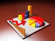 Grafico di affari 3D con la freccia Fotografia Stock