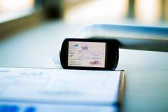 Grafico di affari con lo Smart Phone Fotografie Stock Libere da Diritti