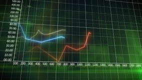 Grafico di affari su un fondo verde della parete Fotografia Stock Libera da Diritti